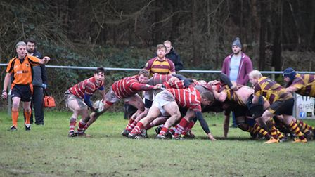 Thetford on their way to victory over Ipswich YM.