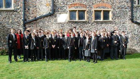 Pupils from Thetford Grammar School with author with author Caroline Lawrence who visited the school