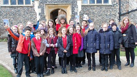 Pupils from Norwich Road Academy, Thetford, with author Caroline Lawrence who visited Thetford Gramm