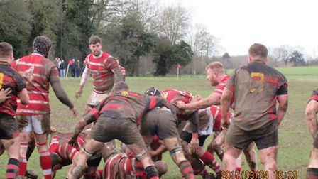 Action from Thetford's defeat against Wymondham at the weekend. Picture: Paula Groombridge
