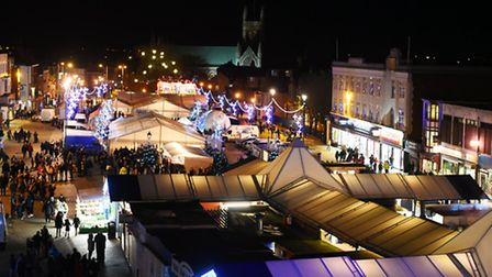 Great Yarmouth Market Place on the evening of the towns annual Christmas Lights switch on event.Nove