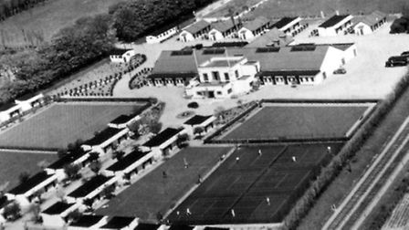 Gorleston Super Holiday Camp, built in 1937, seen from the air. The railway line is on the right. Me