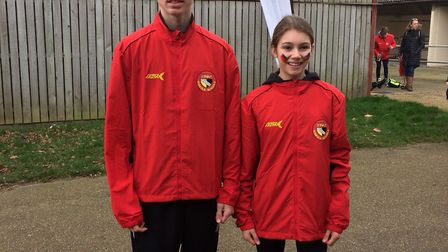 Thetford Athletics Club members Jessica Norkett and Aiden Try.