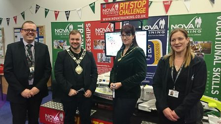 Terry Jermy, Thetford mayor, attended the previous Nova Training open day event. Left to right: Carl