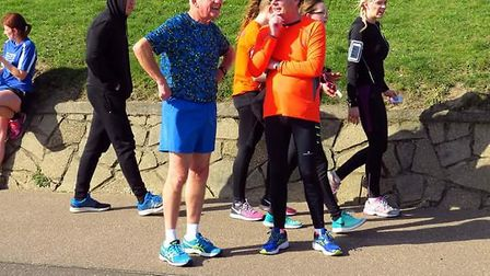 Roger Andrews finishing the Parkrun. Picture: Richard Knibb.