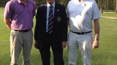 James Ong (left) and his partner Trevor Cave (right) from Eaton GC with Thetford GC Trustee Richard
