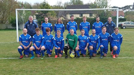 Bridgham United face the camera: Back row (left to right): Jason Evans (assistant manager), George P