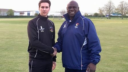 Thetford club and first team captain Liam Conroy, left, with new club coach Mick Piggott. Picture: D
