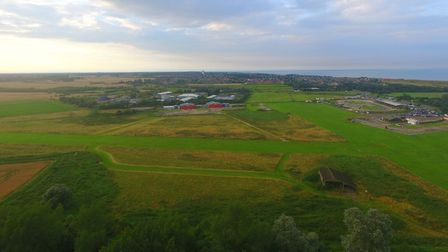 An aerial drone photo of the North Denes heliport. Photo: Simon Carter