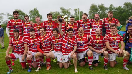 Thetford Rugby Club celebrate their Norfolk Junior Cup final success at Holt. Picture: Thetford RFC