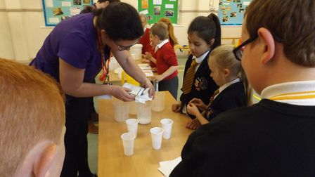 Youngsters having fun at the STEM event.Picture: St Nicholas Priory Primary School