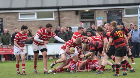 Thetford pile on the pressure during Saturday's Norfolk Junior Cup final against Wymondham. Picture: