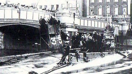 A pair of Royal Navy submarines struck the bridge in 1908. Picture: MERCURY LIBRARY