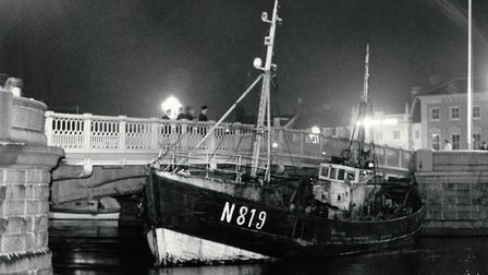 The Belgian trawler Styn Streuvels jammed against the Haven Bridge in Great Yarmouth in August 1969.