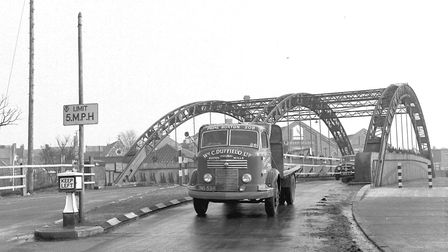A lorry drives across Great Yarmouth's Vauxhall Bridge, long before it became pedestrians-only. Circ