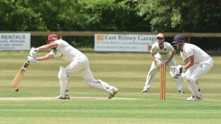 Duncan Hewitt on his way to a century for Dereham in Saturday's Norfolk Alliance Division One match