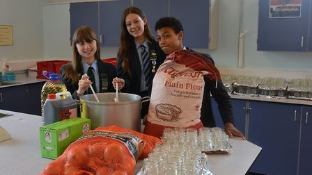 Students at Flegg High School prepare for a mammoth chutney-making session ahead of their farmers' m
