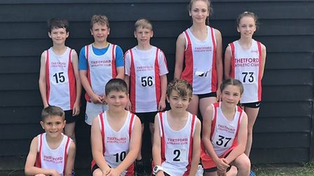 Thetford AC athletes who competed in the Quad Kids event face the camera (see report inside). Pictu