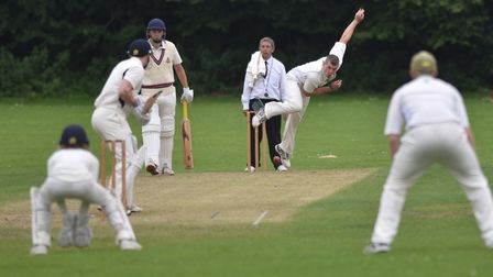 Jasper Payne in full flight for Swaffham during Saturday's match against Beccles in Division Two of