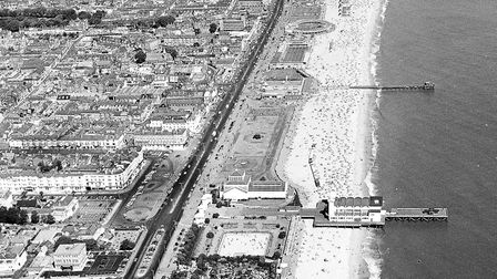 Great Yarmouth's golden sands fringe its Golden Mile in 1970, the hub of the resort's summer enterta