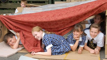 Pupils from Thetford Grammar School take part in Save the Children's Den Day. Picture: Sue Roochove