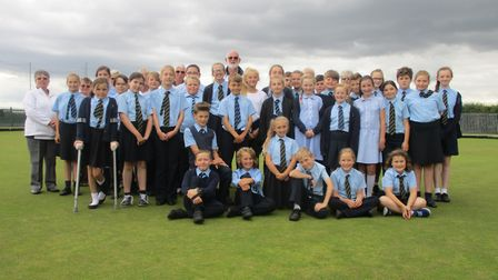 Young bowls players from Martham Primary School