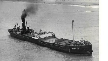 The steamer Harfry aground just off Hemsby beach in 1955. PictureL Mercury Library