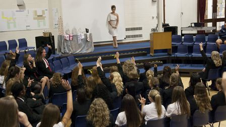 Jade Bailey, Miss Diamond UK, visited her former school Mildenhall College Academy to talk about sel
