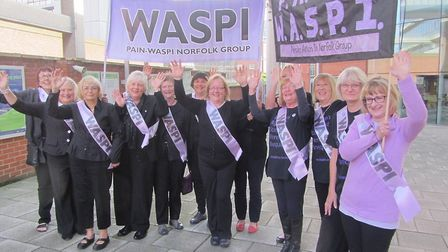 Members of the PAIN-WASPI before their last demonstration in London. Picture: PAIN-WASPI