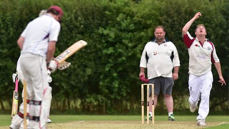 Cricket action between Bungay (batting) and Swardeston B. Swardeston bowler Blake Bowden.Picture: Ni