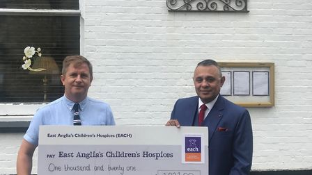 A Charity event held at the Thomas Paine Hotel has raised more than £1,000 for EACH. Picture are, ho