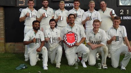 The victorious Swaffham team celebrate their win over Thetford. Picture: Nigel Crickmore