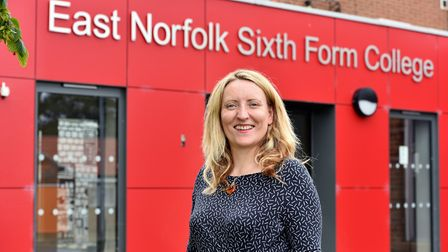 Principal Dr Catherine Richards.A Level results at East Norfolk Sixth Form College in Gorleston.Pict