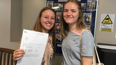 Millie Daviss and her friend are pleased as she's off to UEA to study Physical Education