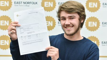 A Level results day at East Norfolk Sixth Form College in Gorleston.Ryan Halliday with his results.P