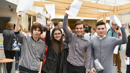 Students finding out their A Level results at East Norfolk Sixth Form College in Gorleston.Picture: