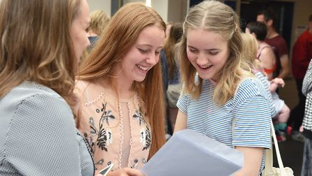 Students finding out their A Level results at East Norfolk Sixth Form College in Gorleston. Picture