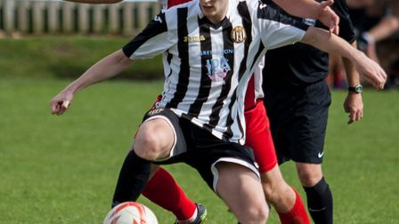 Nick Castellan bringing the ball under control for Swaffham Town against Woodbridge on Saturday. Pic