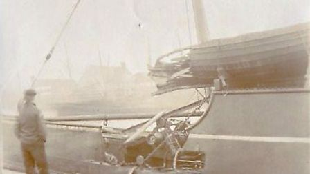 Holed after being hit by a vessel named the Imperial - but luckily above the water-line.
