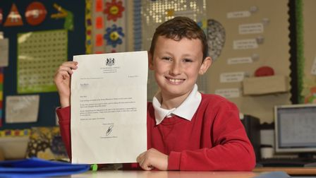 Kai Morris, 9, from Alderman Swindell School pictured with his reply from 10, Downing Street.Picture