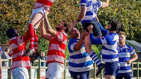 Line-out action from Saturday's match between Lowestoft & Yarmouth and Thetford. Picture: Alan Walke