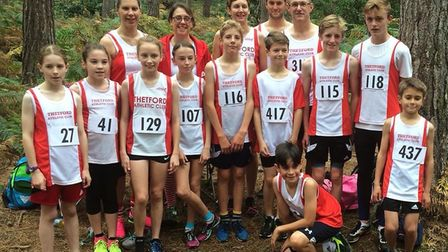 Thetford AC runners at the first race of the Ryston Cross Country Grand Prix series at Shouldham War