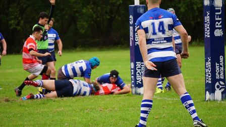 Thetford score a try during their big win over Maldon in the Senior Vase. Picture: Dawn Heather