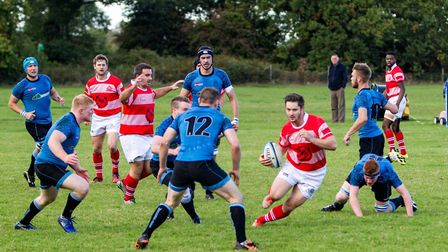 Thetford on the front foot during last Saturday's 31-7 win at Woodbridge in London Three Eastern Cou