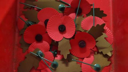 Completed standard poppies at a Poppy Factory in Richmond, London, as the Royal British Legion mark