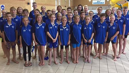 Thetford Dolphins Swimming Club line up for the camera at round five of the Junior Fenland League. P