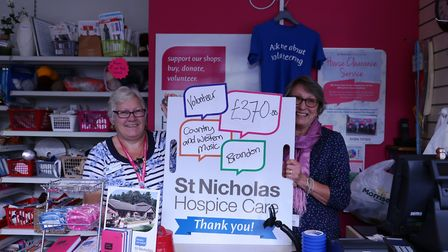 Lorraine Street, left, with Jean Bennett, from the St Nicholas Hospice Brandon shop. Picture: St Nic
