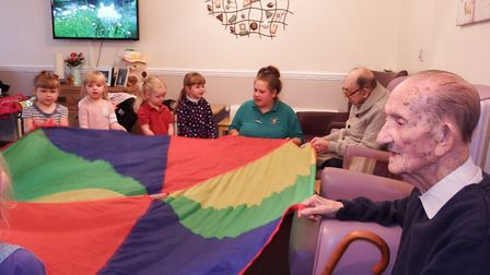 A group of tiny tots from a Thetford nursery have started monthly visits to elderly residents in a c