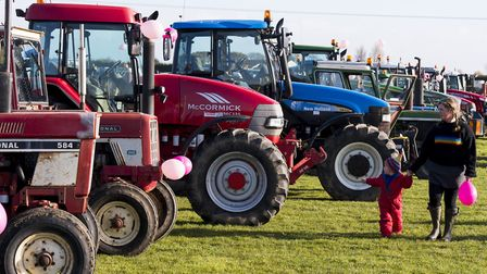 Tractor owners take part in a 18 mile charity tractor run from Scratby in support of charity 'Keepin