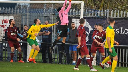 Thetford Town are through to the last eight of the Norfolk Senior Cup. Picture: DENISE BRADLEY.